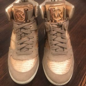 Michael Kors Rose Gold/Taupe Sneakers Size 8M